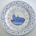 6 Hand painted wedding anniversary plate