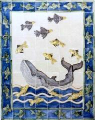 Bahamas whale tile panel