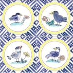 Bird and flower tiles