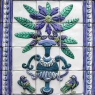 Birds and vase of flowers tiles