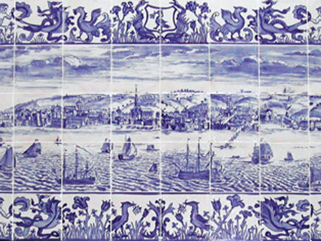 Boats on the Mersey tile panel