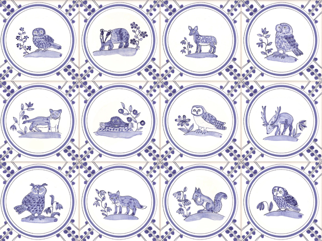 Delft British wildlife tiles