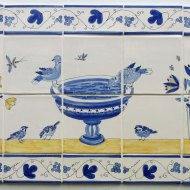Drinking doves tile panel