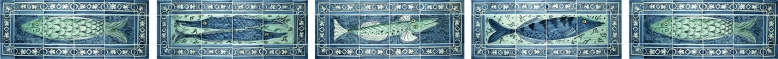 Hand painted fish tiles