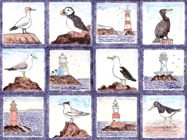 Seabird and lighthouse tiles