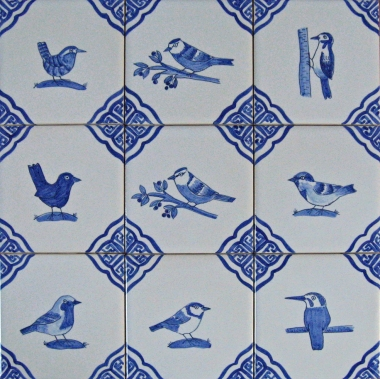 British garden bird tiles
