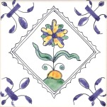 Delft flower tile 16