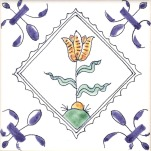 Delft flower tile 3