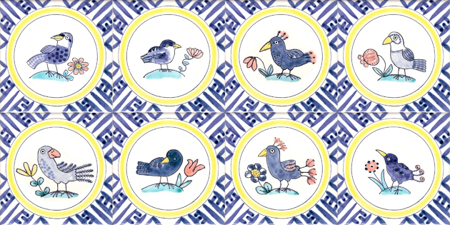 Hand painted Delft Bird and flower tiles