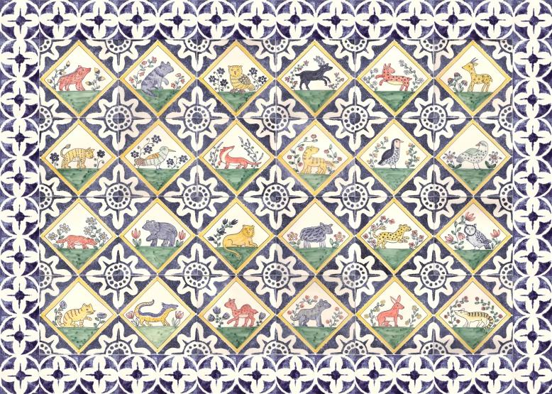 medieval animal tile panel