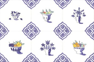 Delft fruit tiles with corner 24
