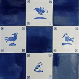 Bluebirds with plain blue tiles