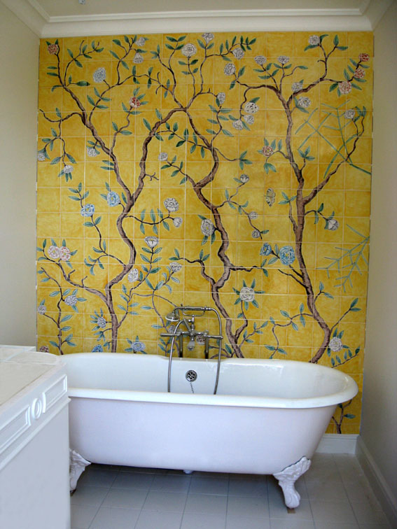 Chinoiserie bathroom tile panel
