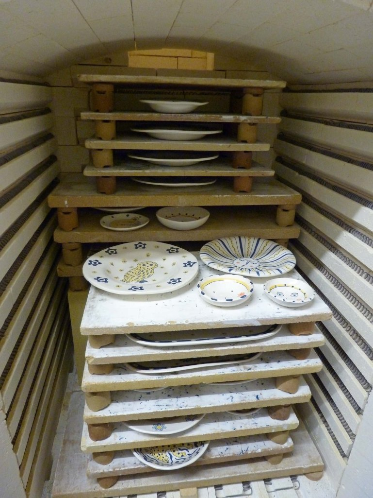 Kiln full of tiles and bowls