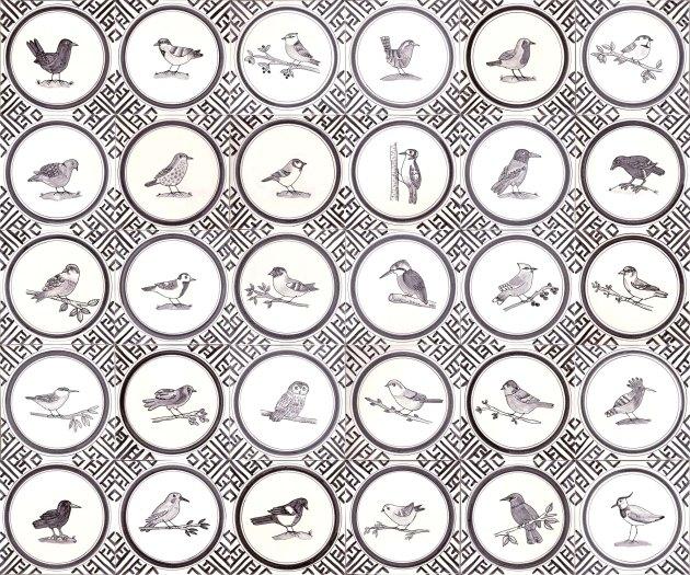 Black and white British Garden Bird tiles