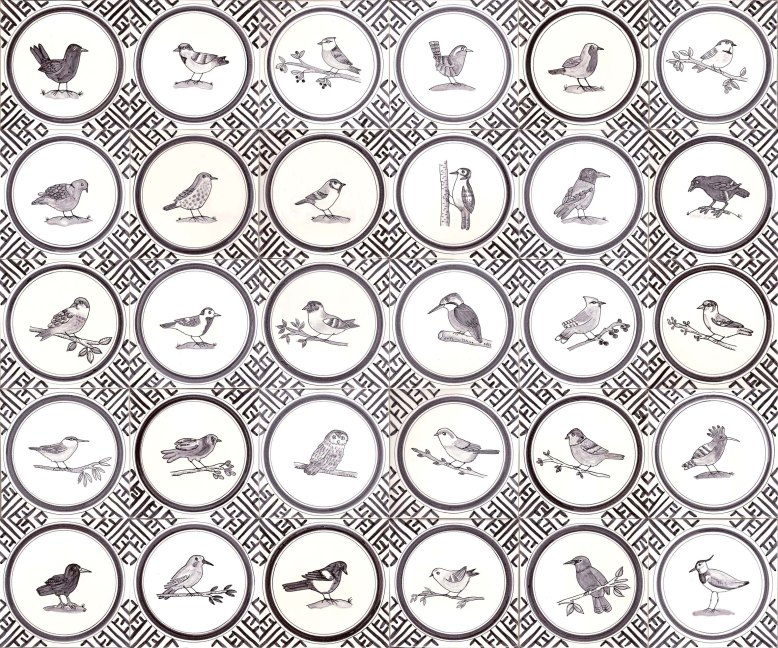 Black and white bird tiles