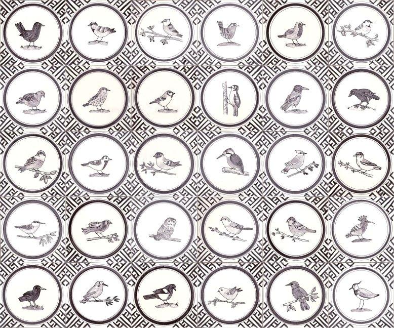 Black and white bird tiles