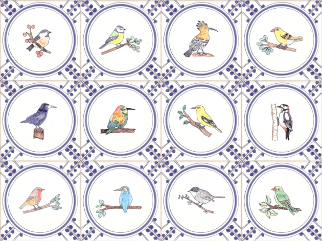 Hand painted Garden Bird tiles
