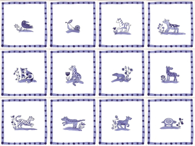 Hand painted Delft animal tiles