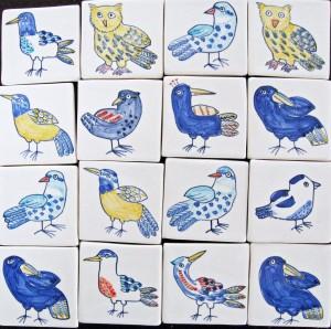 16 bird tiles 5cm