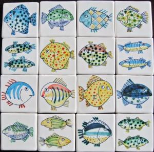 16 fish tiles 5cm