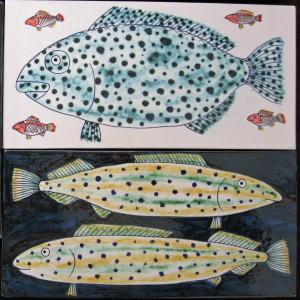 2 fish tiles 26x13cm