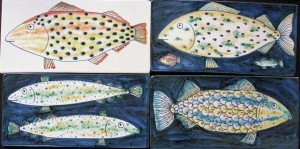 4 fish tiles 21 x 10½cm