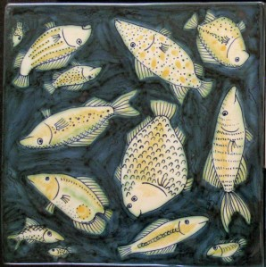 square fish tile 21x21cm