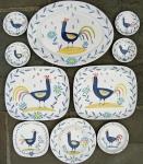 Cockerel plates and bowls