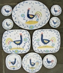 Cockerel plates and bowls