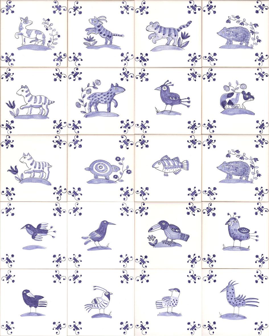 animal and bird tiles e