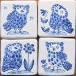 4 small owl tiles