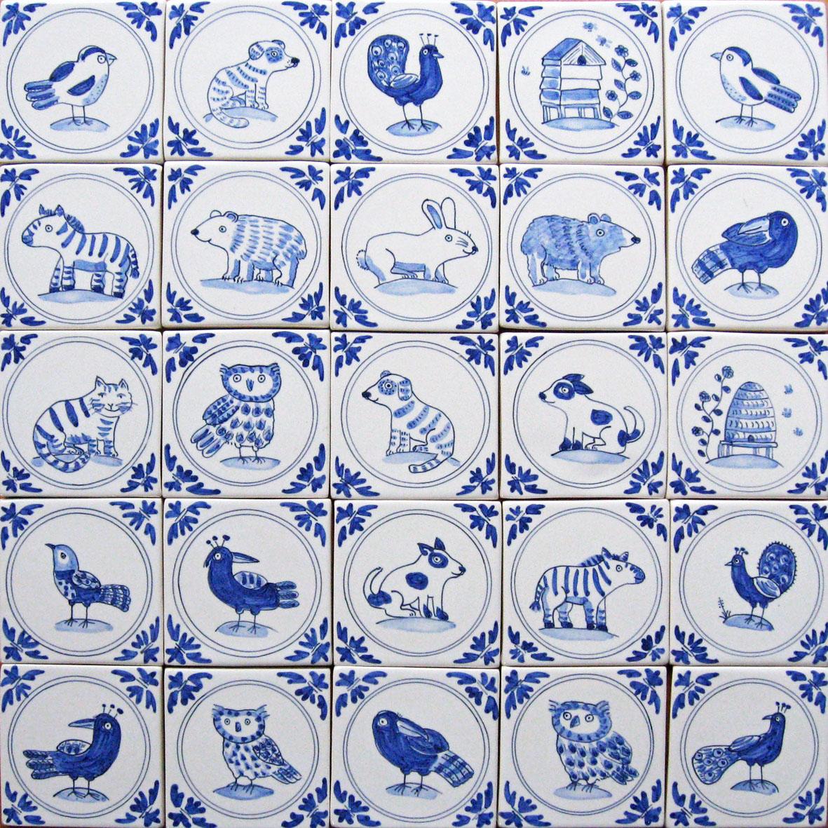Mini Delft animal and bird tiles