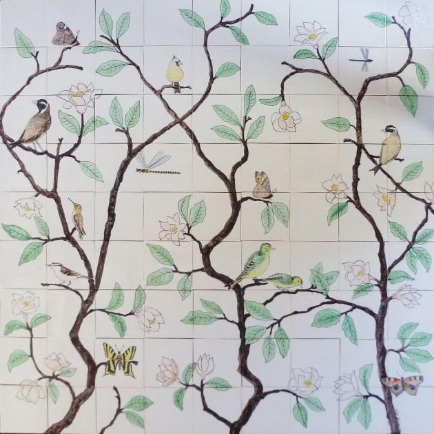Chinoiserie tile panel