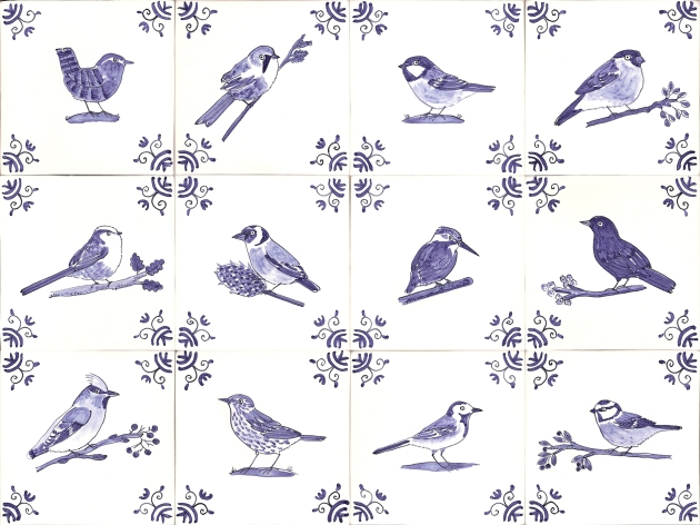 Delft British garden bird tiles