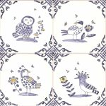 Delft Birds and Bees tiles small