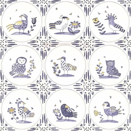 Delft birds and bees tiles