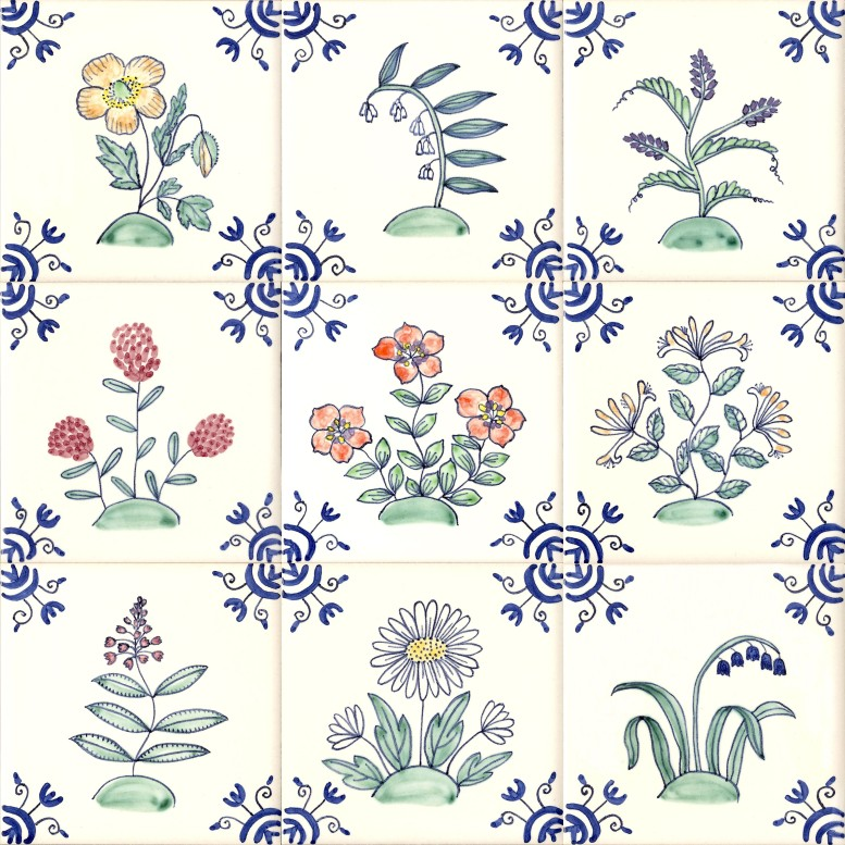 Colour wildflower tiles