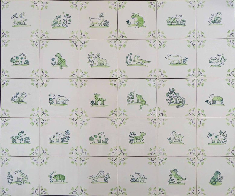 Thirty Delft Animal Tiles