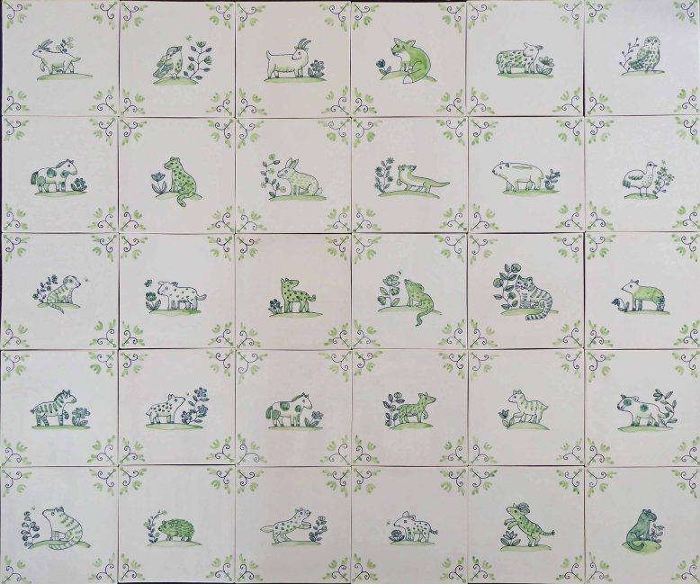 Thirty Delft Animal Tiles
