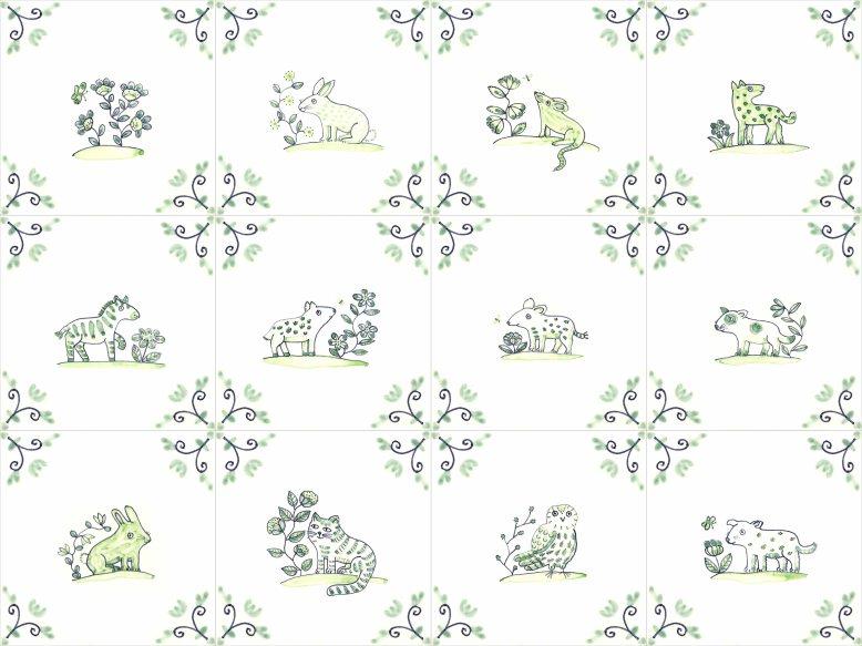twelve Delft animal tiles