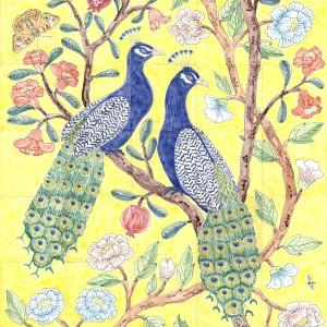 Chinoiserie peacocks tile panel