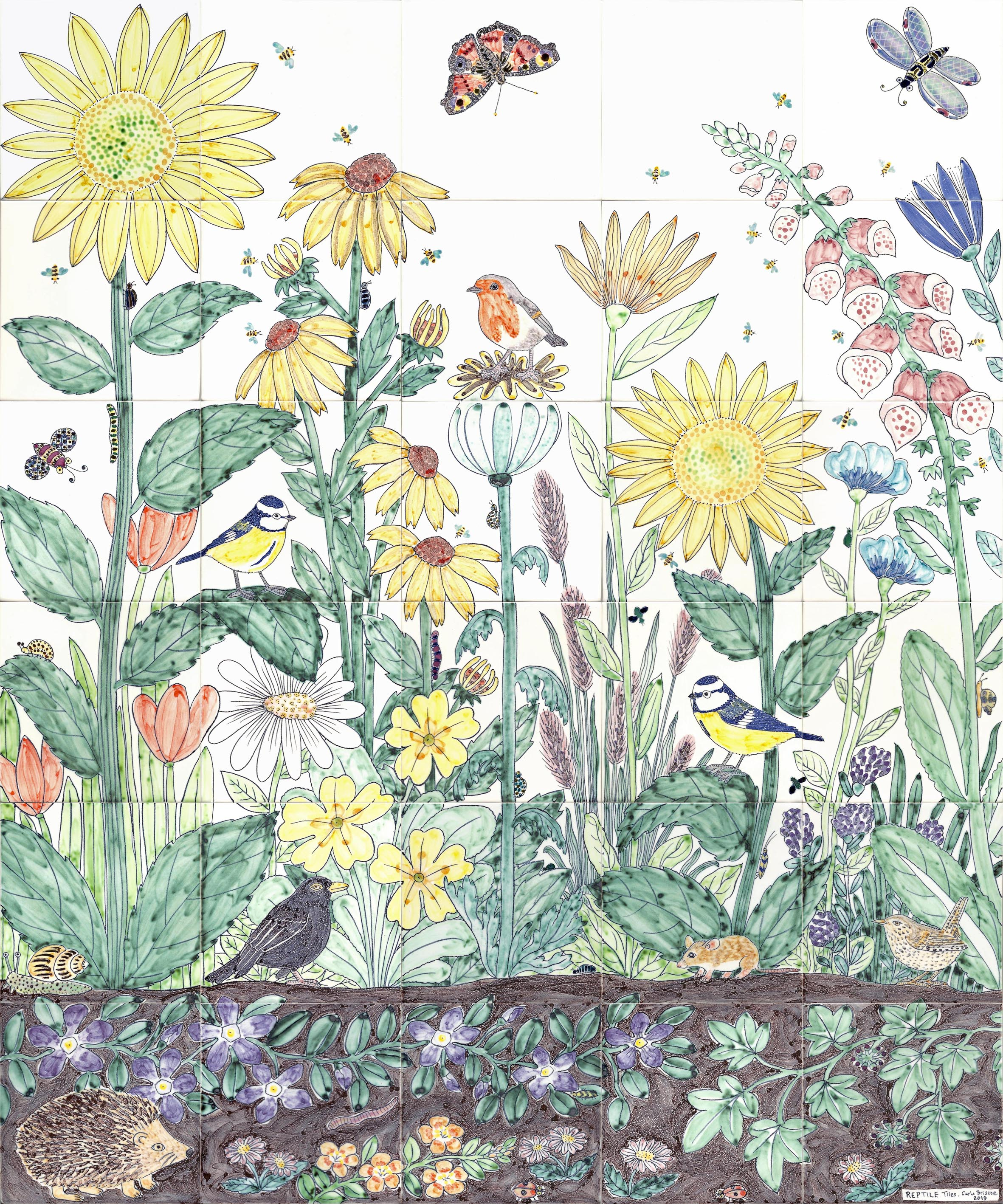 Flower and bird tiles