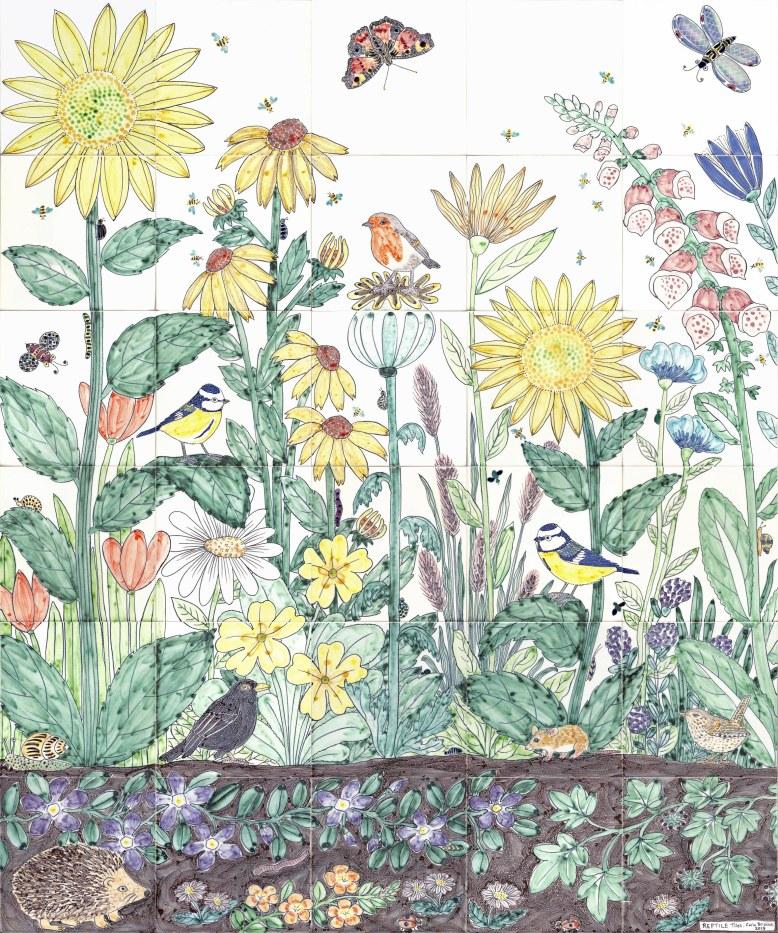 Flower and bird tiles